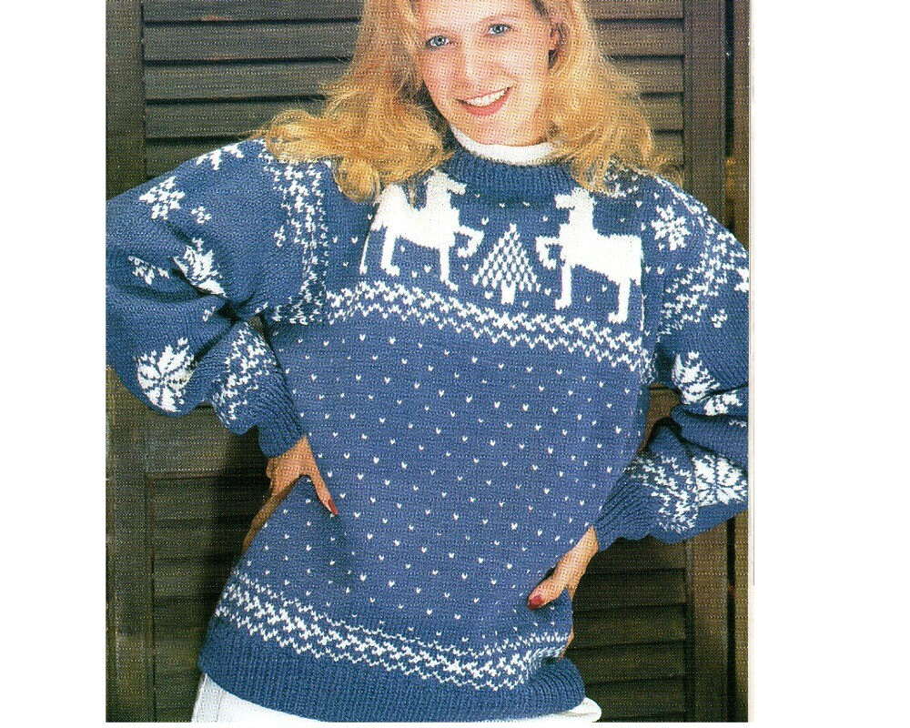 Reindeer Christmas Tree And Snowflake Sweater Knitting Pattern Etsy