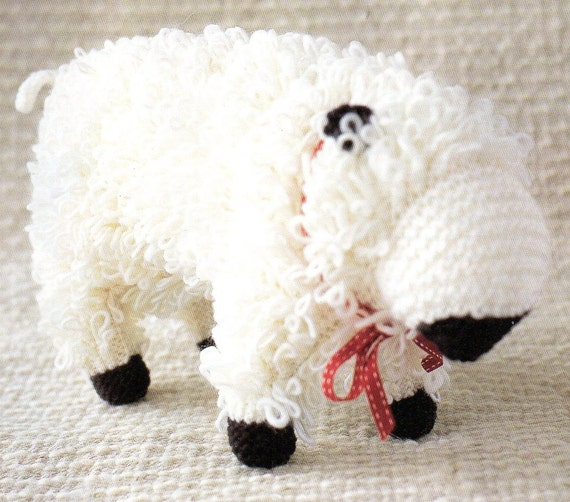 Large Loopy Sheep Amigurumi Animal Toy Pillow Knitting Pattern Etsy
