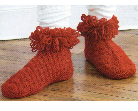 Loopy Slippers Knitting Pattern Slipper Socks Pdf Instant Etsy
