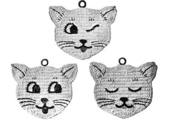 Crochet Cat Potholder Pattern | Crochet cat pattern, Crochet cat ... | 405x570