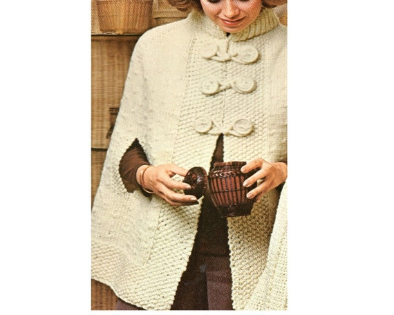 Loopy Cape Poncho Knitting Pattern Long Poncho Cape Knitting Pattern Sizes 8 - 20  PDF Instant Download