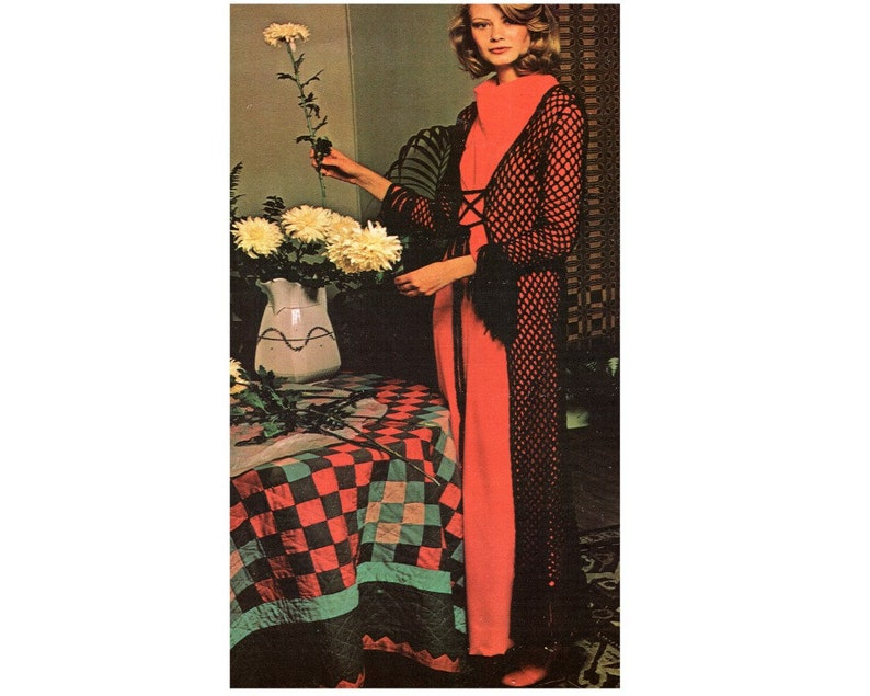1970s Maxi Sweater Crochet Pattern 1960s Maxi Sweater Jacket Crochet Pattern PDF Instant Download