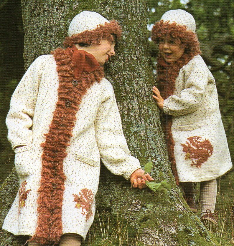 043fbc37f04 Long Jacket and Hat Knitting Pattern Squirrel Coat and Hat