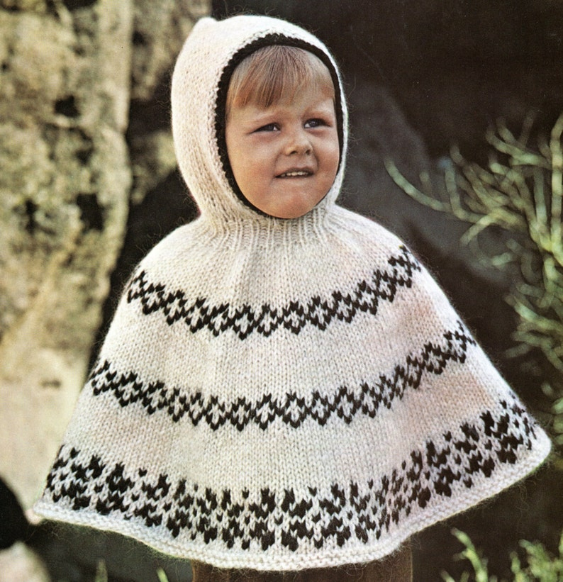Poncho Cape With Hood Knitting Pattern Child Toddler Hooded Poncho Knitting  Pattern PDF Instant Download