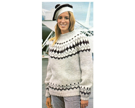 Fair Isle Pullover Sweater And Beret Knitting Pattern Etsy