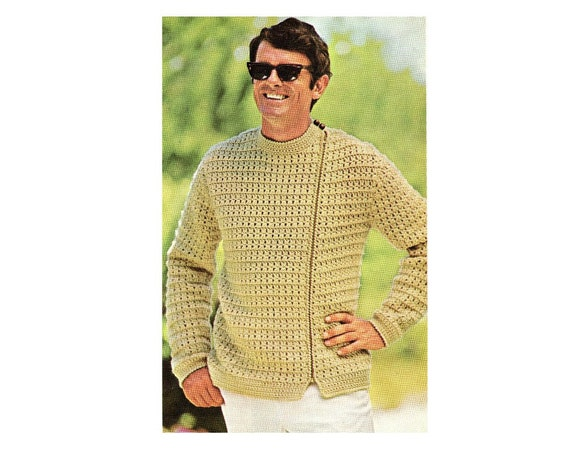 Mens Zip Up Jacket Crochet Pattern Sweater Jacket Crochet Etsy