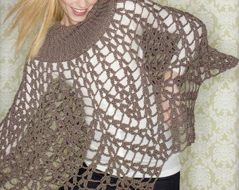 Bold Poncho Cape Crochet Pattern Mesh Pullover Cape Poncho Crochet Pattern PDF Instant Download