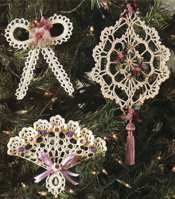 Bow Fan Suncatcher Christmas Tree Ornaments Crochet Patterns Etsy