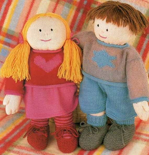 Large Boy Girl Rag Dolls Knitting Patterns Plus Clothing 15 Etsy