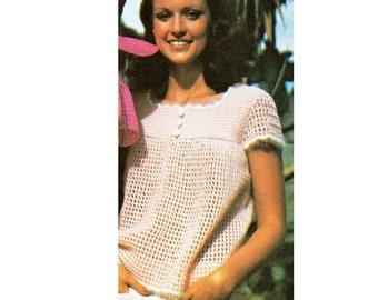 Short Sleeve Top Shirt Crochet Pattern Mesh Shirt Top Crochet Pattern Top PDF Instant Download