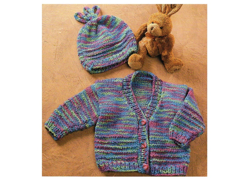 37966838c3d5 Cardigan Sweater and Hat Knitting Pattern Infant Toddler Hat