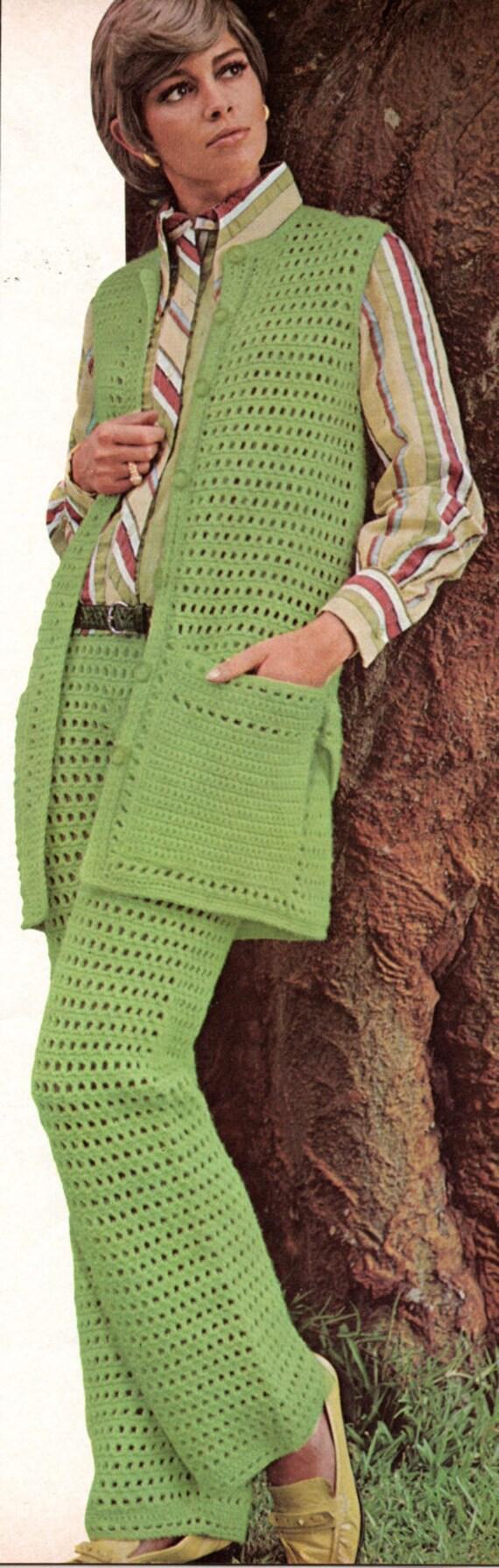 1960s Eyelet Pants Suit Crochet Pattern Womens Two Piece Pants