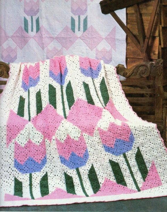 Tulip Flowers Afghan Crochet Pattern Summer Flowers Tulips Etsy