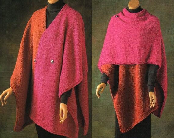 Color Block Ruana Cape Poncho Knitting Pattern Womens Poncho Etsy