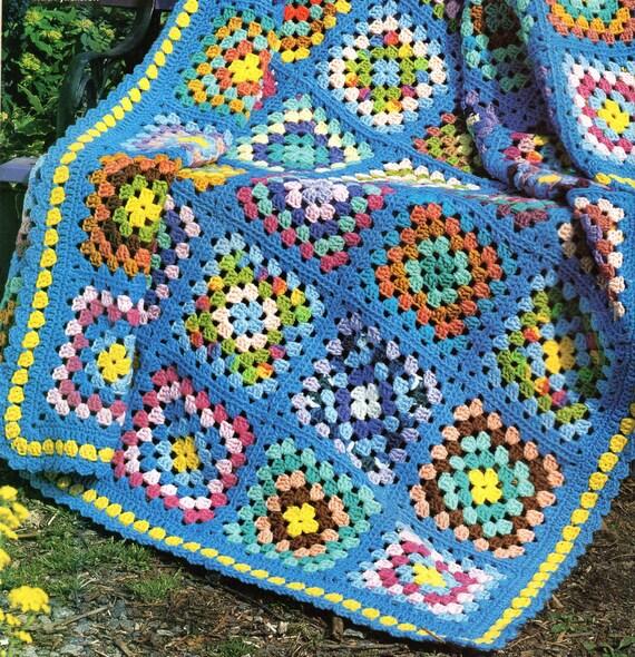 Granny Square Afghan Crochet Pattern Squares Afghan Crochet Etsy