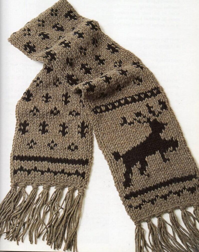 Reindeer Scarf Knitting Pattern Christmas Reindeer Fringe Etsy