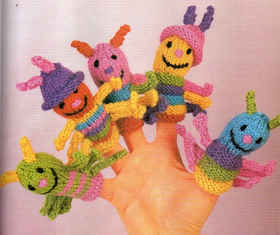 5 Caterpillar Finger Puppets Knitting Pattern Baby Child Etsy