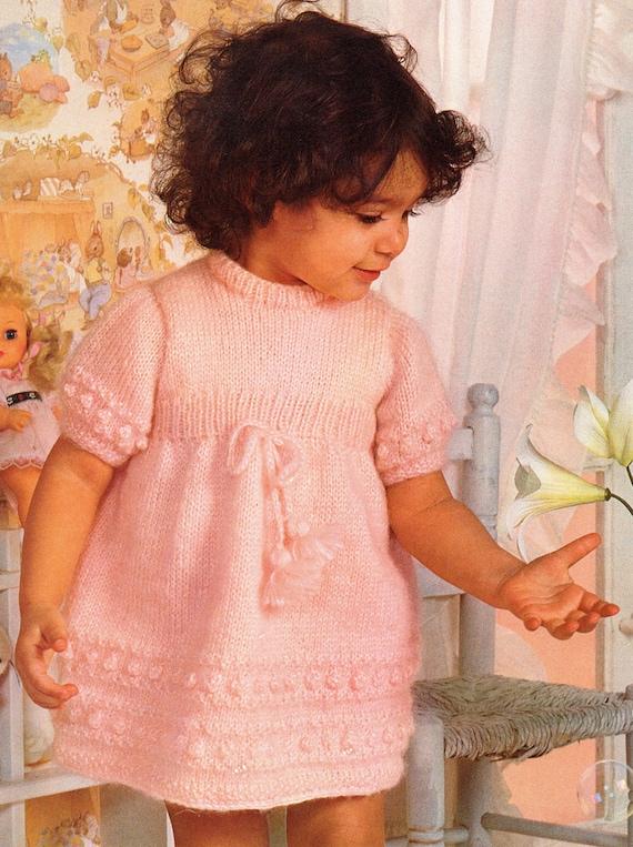Girls Bobble Dress Knitting Pattern Sizes 6 Months 123 Etsy