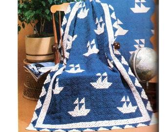 Boats Afghan Crochet Pattern Nautical Boat Afghan Crochet Pattern PDF Instant Download