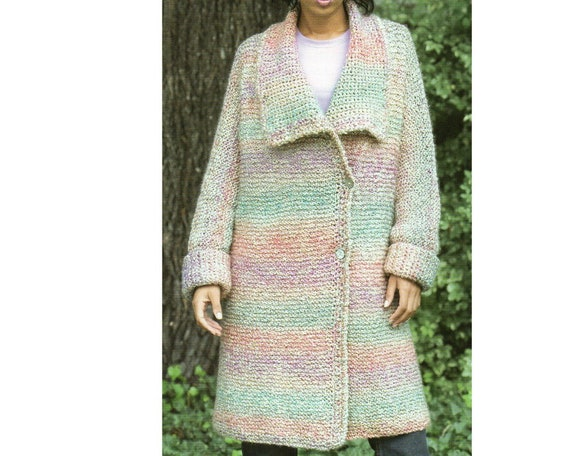 Long Sweater Coat Knitting Pattern Long Cardigan Sweater Etsy