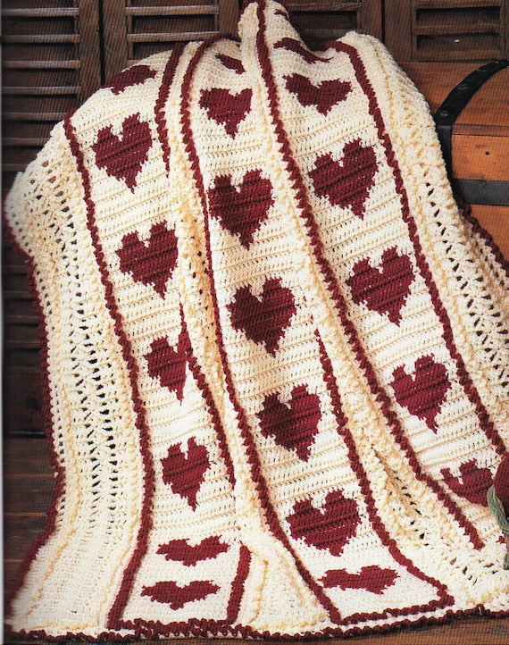 Red Hearts And Stripes Afghan Crochet Pattern Hearts Afghan Etsy