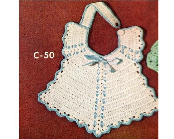 Bib Crochet Pattern Vintage Baby Bib Crochet Pattern Pdf Etsy