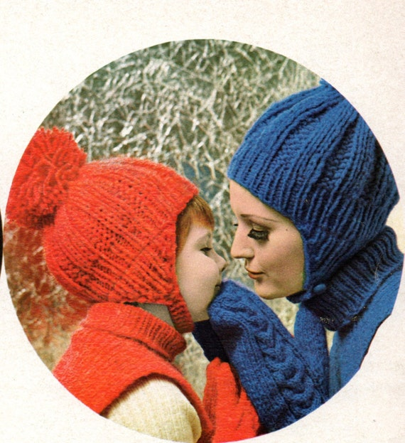 Earflap Hat Dicky And Mittens Knitting Patterns Adult Woman Etsy
