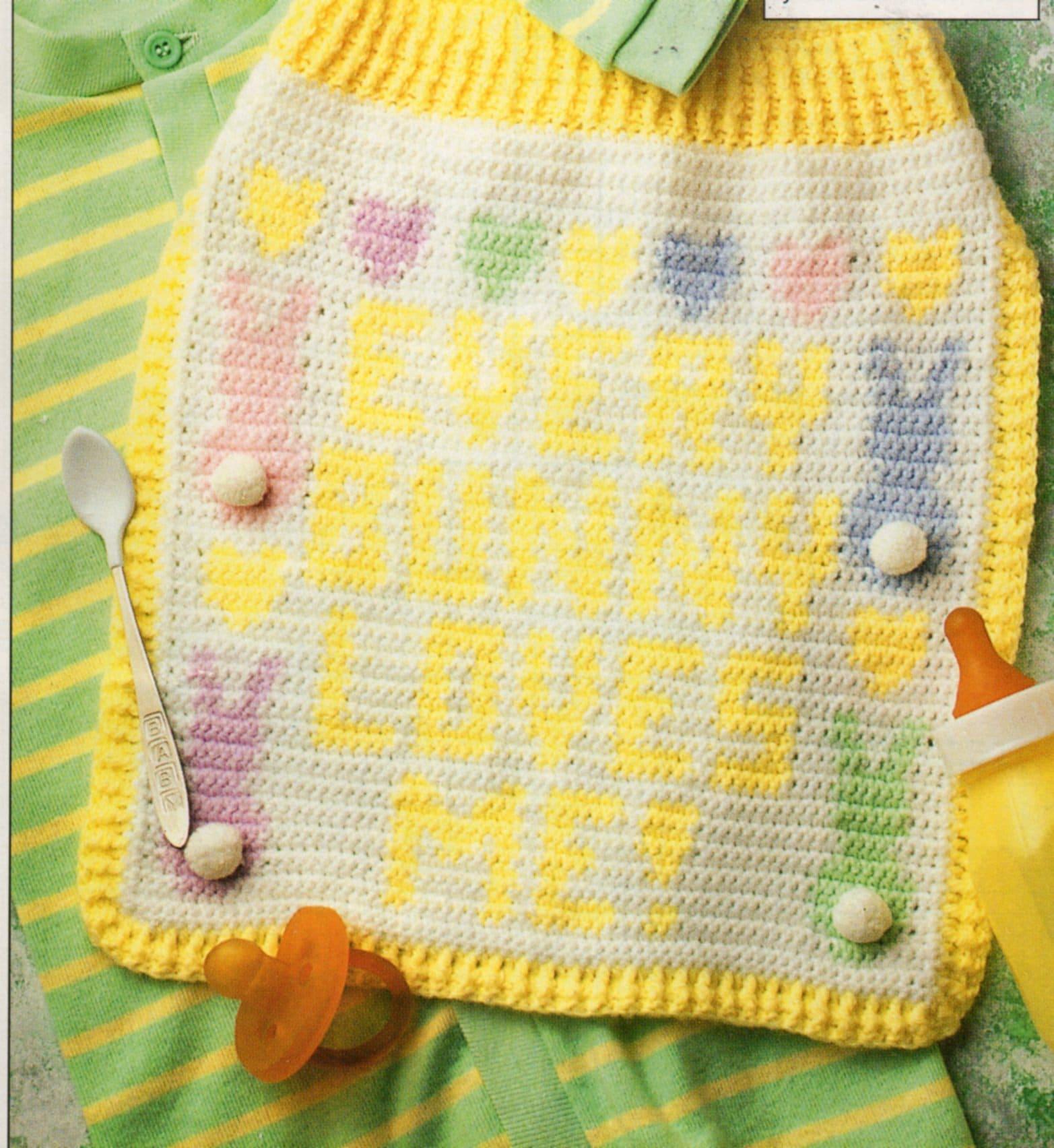 Bib Crochet Pattern Vintage Every Bunny Loves Me Baby Bib Etsy
