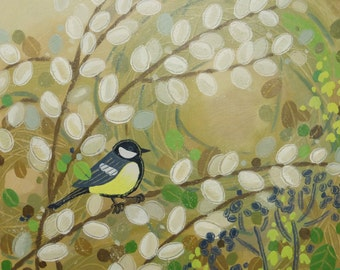 Original acrylic bird painting - great tit - English countryside