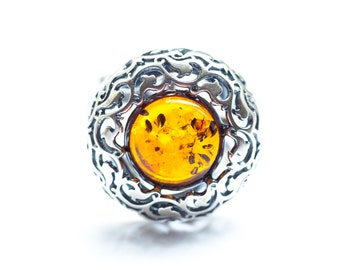Silver & Amber Ring, Fully Adjustable Ring, Amber Ring, Baltic Amber Ring, Amber Jewellery, Amber Silver Ring, Amber, Amber Jewelry, silver