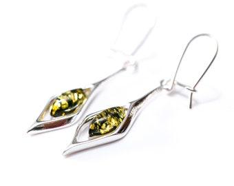 d6bc4b4bc Green Amber Drop Earrings, Silver Drop Earrings, Green Earrings, Gemstone  Earrings, Dangle Earrings,