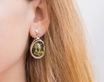 Large Green Amber Earrings, Green Stone Earrings, Green Dangle Earrings, Big Earrings Silver, Green Earrings Silver, Handmade Stone Earrings