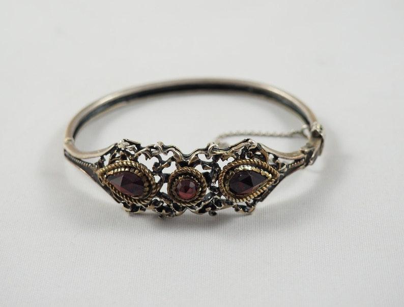 Austria 1922-25 800 Standard Silver Pierced Setting Antique Austro-Hungarian Bohemian Garnet and Silver Hinged Bracelet