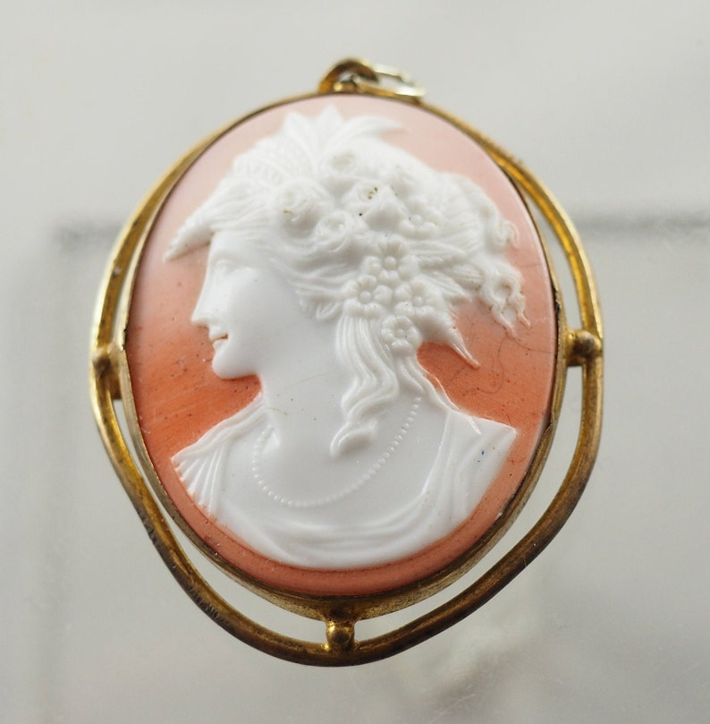 Rolled Gold Mount Germany 1900 Coverted Hair Ornament Depicting Flora Antique Victorian Parian Ware Cameo Pendant