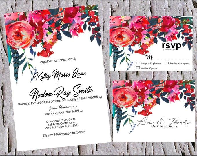 Featured listing image: Red Navy, Boho watercolor, Boho Cranberry, wedding invitation set, fall wedding invitations