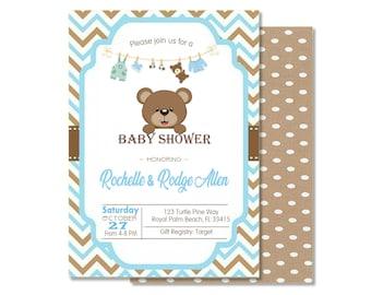 teddy bear baby shower invitations etsy