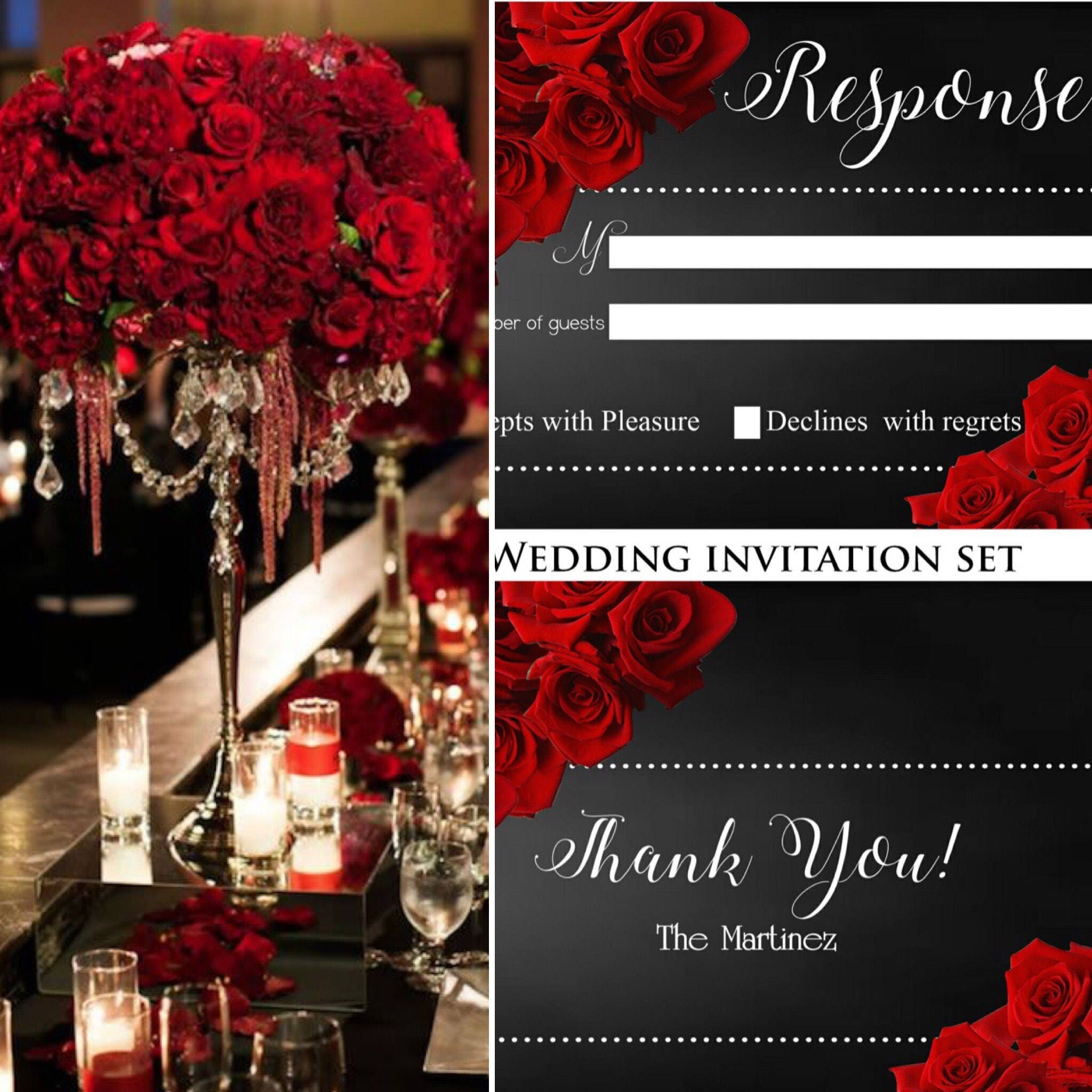Elegant Red and Black Wedding Invitations, Red Roses, Custom ...
