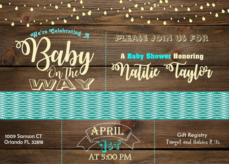 Rustic Wood Baby Shower Invitation, Rustic, String Light, Gender ...