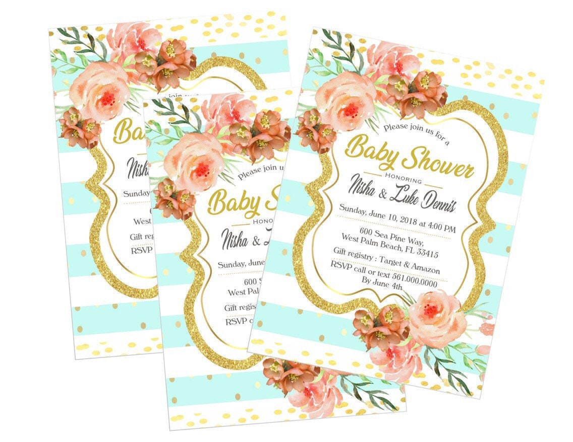 Baby shower invitations peach and mint girl gold pink gold baby shower invitations peach and mint girl gold pink gold baby shower invitations filmwisefo