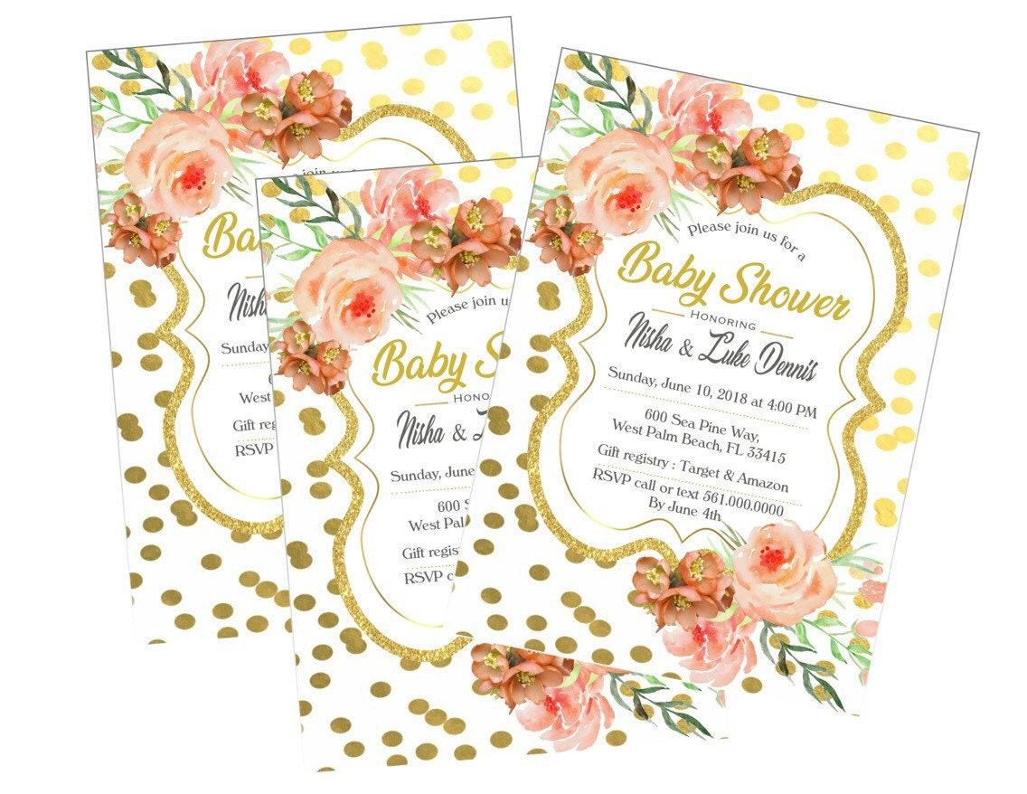 Baby Shower Invitations, White, Pink, Gold,glitter