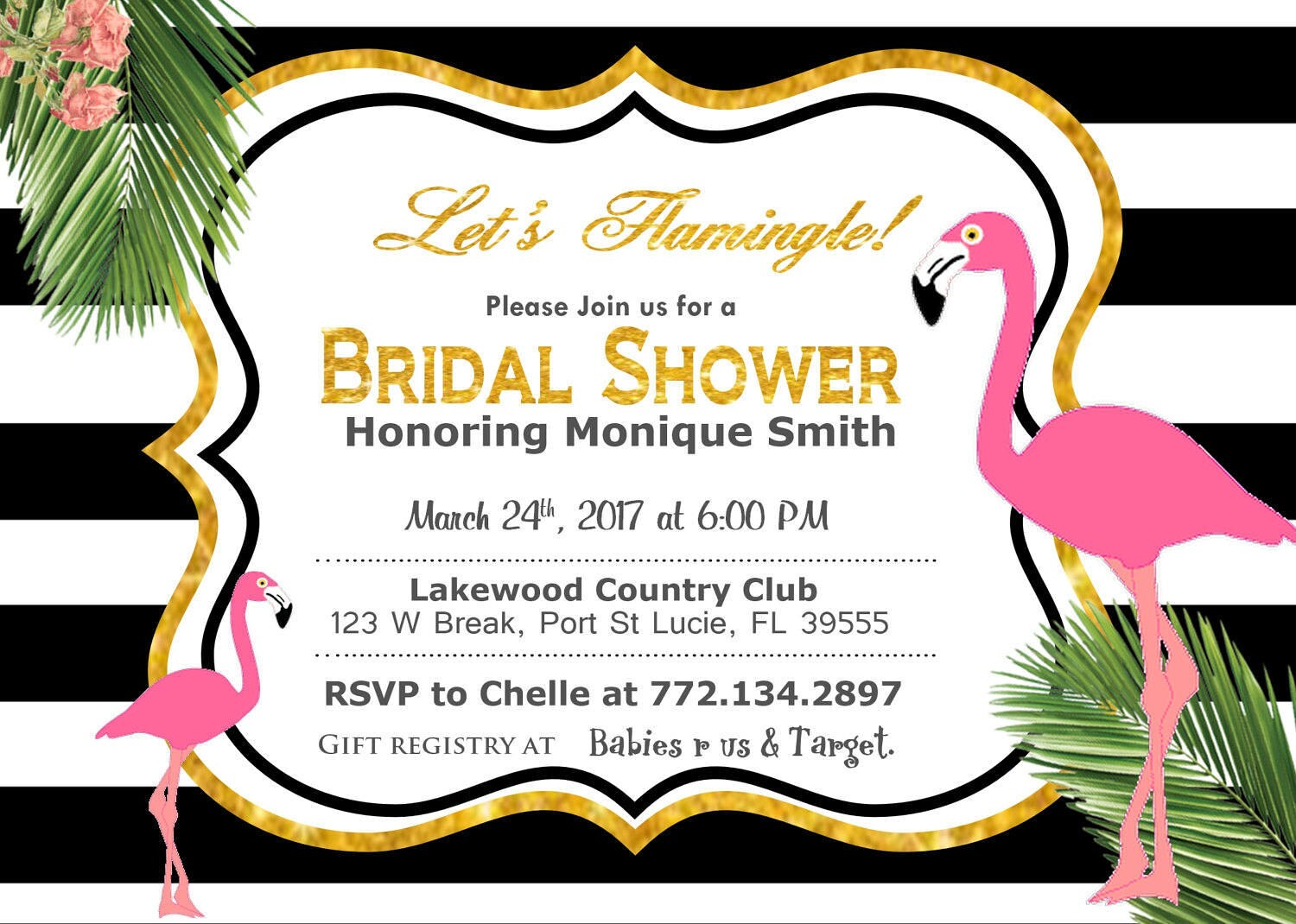 Lets flamingle bridal shower invitation baby shower invitation lets flamingle bridal shower invitation baby shower invitation flamingle black hot pink pink gold glitter raffle ticket flamingo filmwisefo