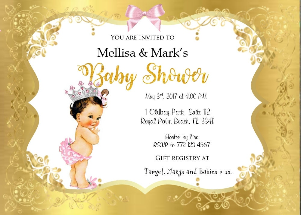 Vintage princess crown baby shower invitation princess baby vintage princess crown baby shower invitation princess baby shower tutu pink gold glitter raffle ticket filmwisefo