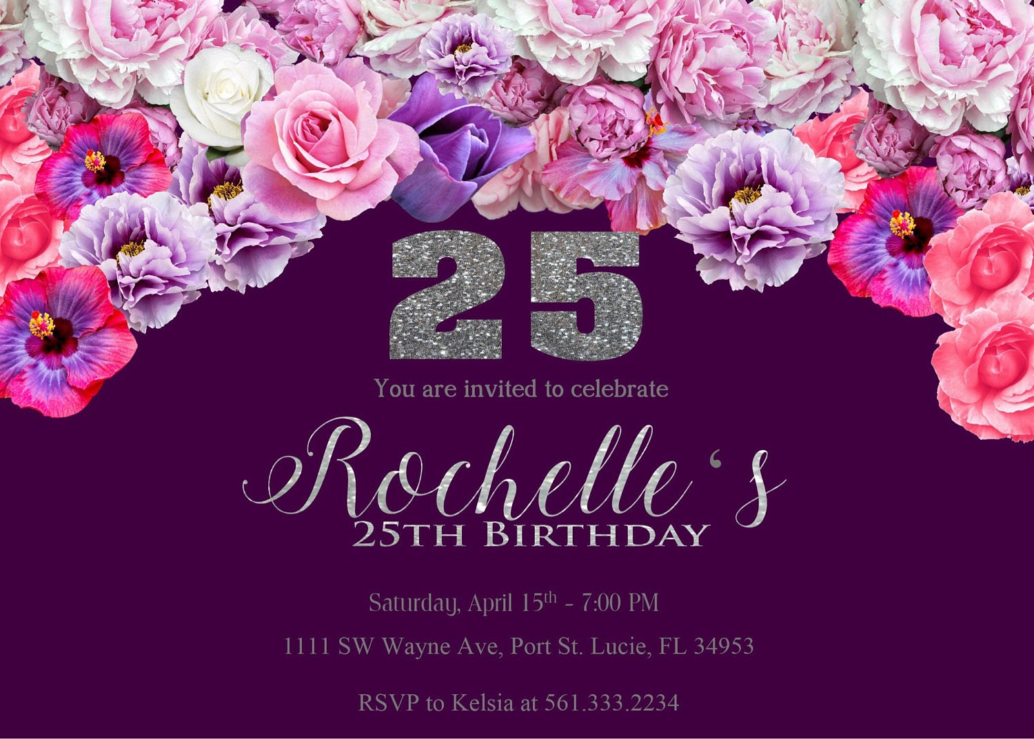 Purple And Silver Birthday Party Inviations Invitations Flowers Invites Elegant