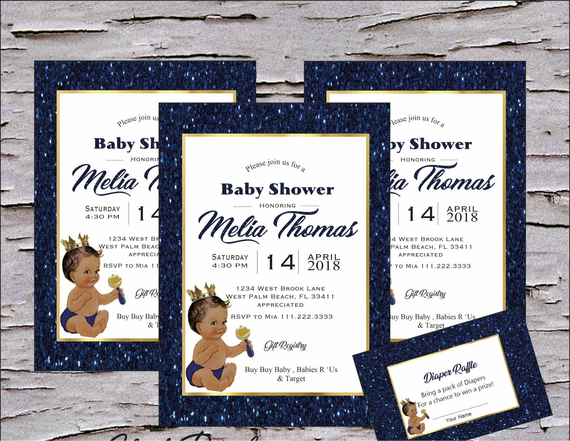Prince royal Blue and Gold Ethnic Baby Shower Invitations package ...