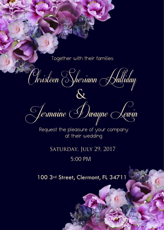 Elegant Navy Blue and Purple Wedding Invitations