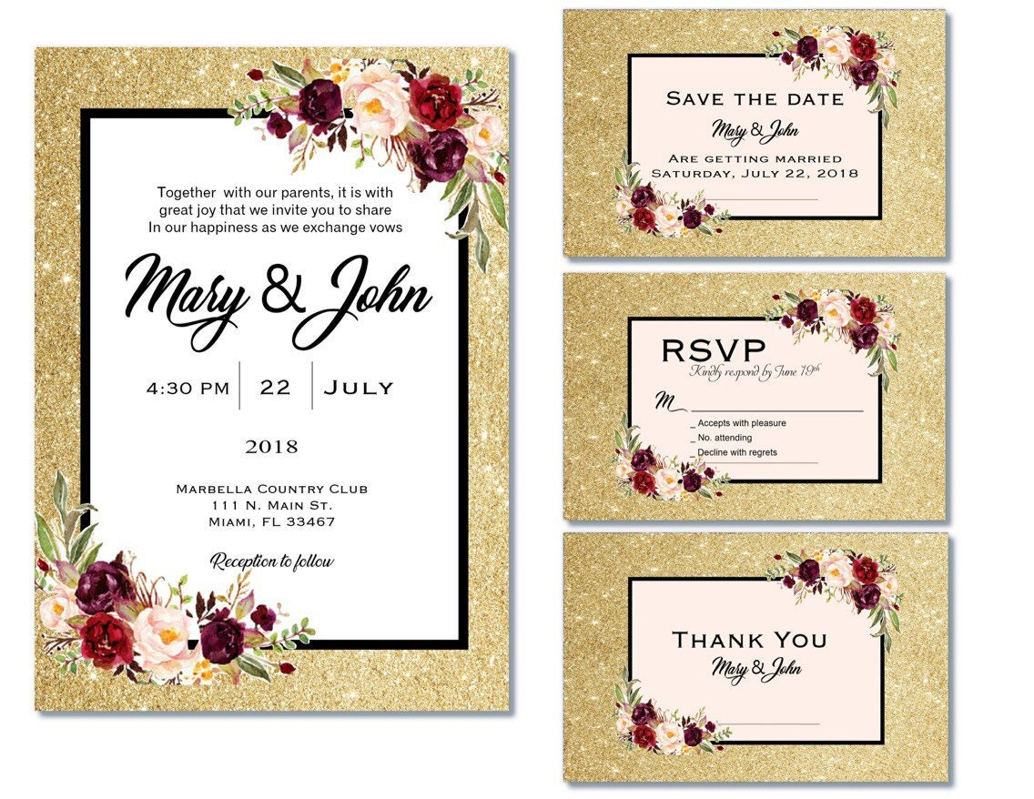 Champagne, wine, red, hold wedding Invitations, Glitter and Floral ...