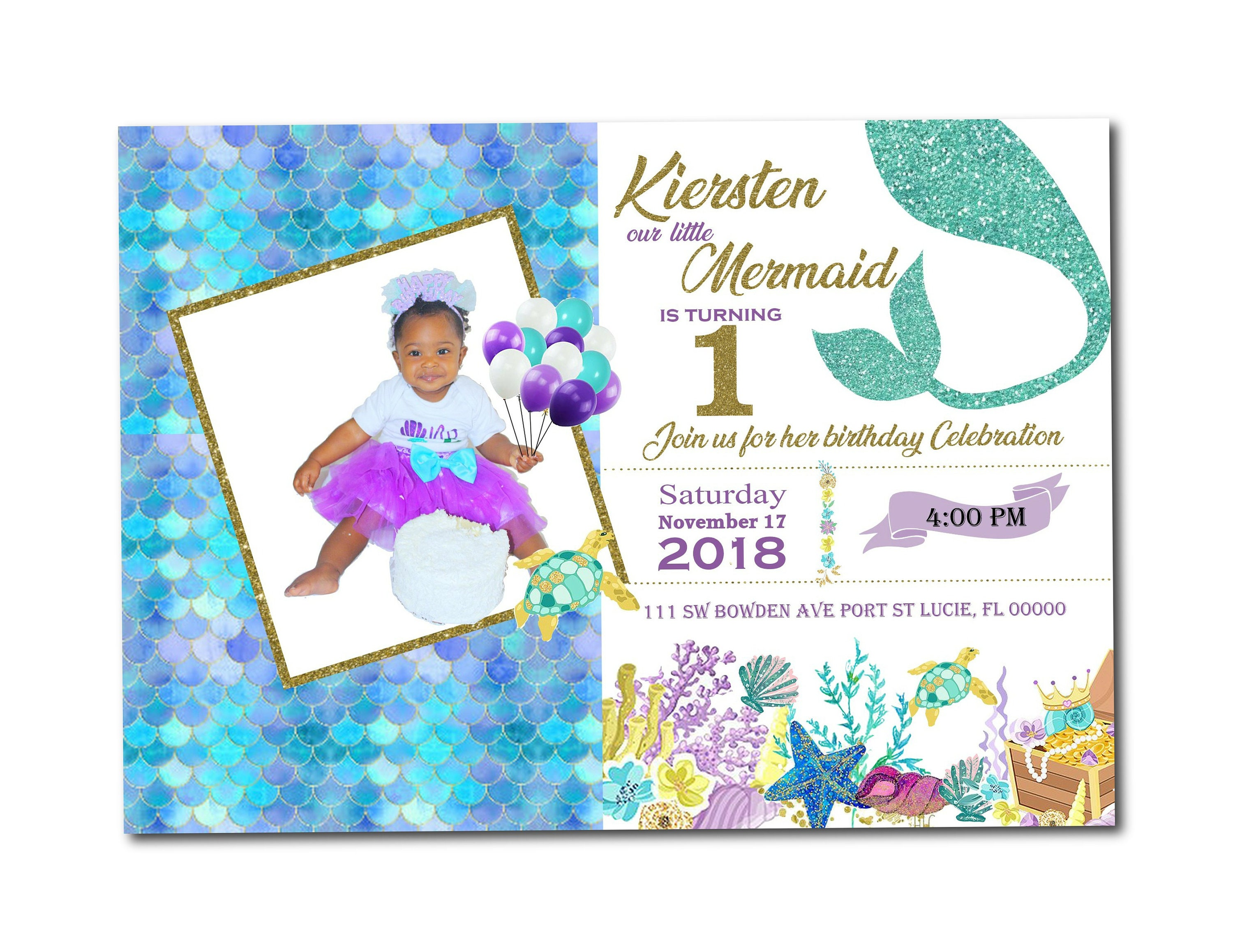 Mermaid Invitation Little With Photo Birthday Printable Party