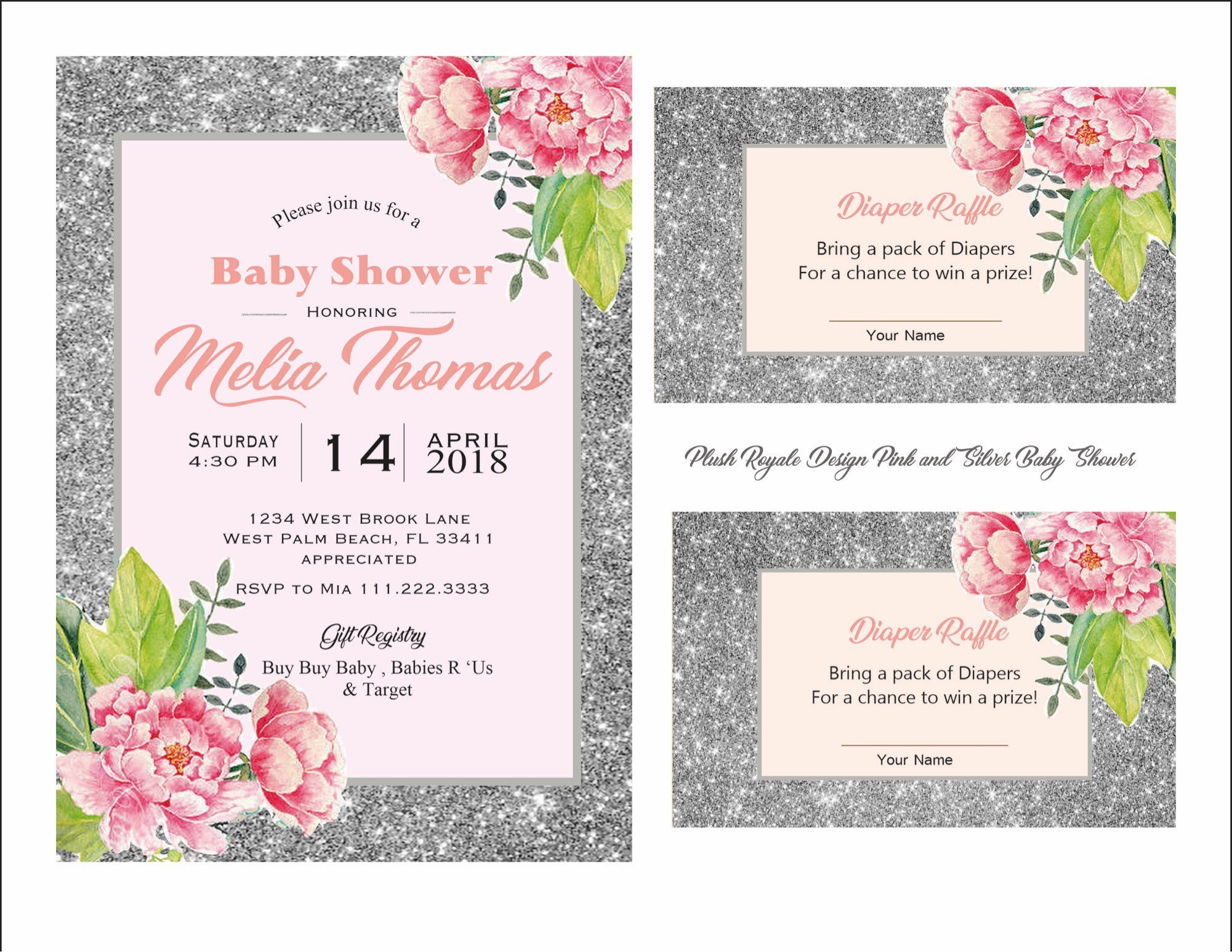 pink and silver glitter girl baby shower sparkle invitations raffle
