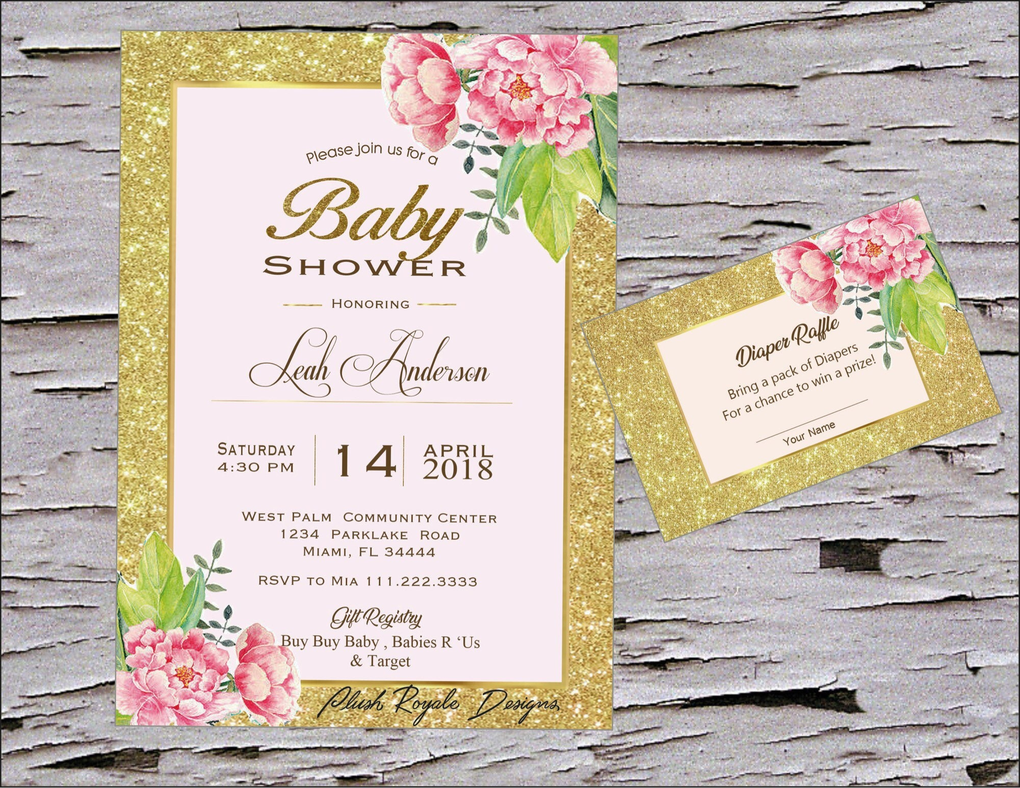 Blush Pink Floral Sparkle Baby Shower Invitations