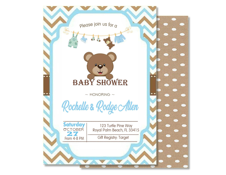Blue Bear Baby Shower Boy Invite Blue Baby Shower Baby Boy Shower